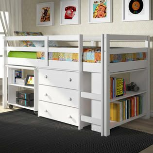 DONCO kids Twin Loft Bed with Desk and Storage - Finish: White