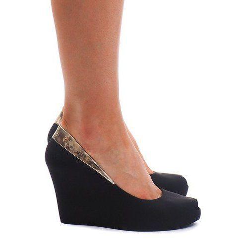 Meliski Na Koturnie Odkryte Km110 Czarny Czarne Shoes Wedges Fashion