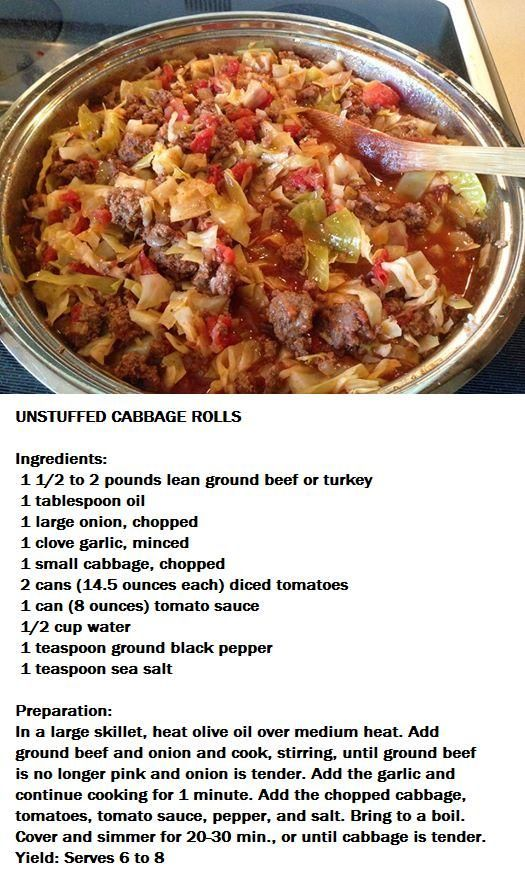 Un-stuffed cabbage rolls - I added about a Tablespoon of Melting Pots Wine and Garlic seasoning, salt & pepper. NO water, I skipped that. 2nd time I made it I used a jar of Marinara spaghetti sauce because I didnt have tomato sauce.