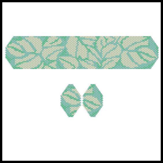 Art Deco Silver Leaves Bracelet & Earrings | Bead-Patterns.com