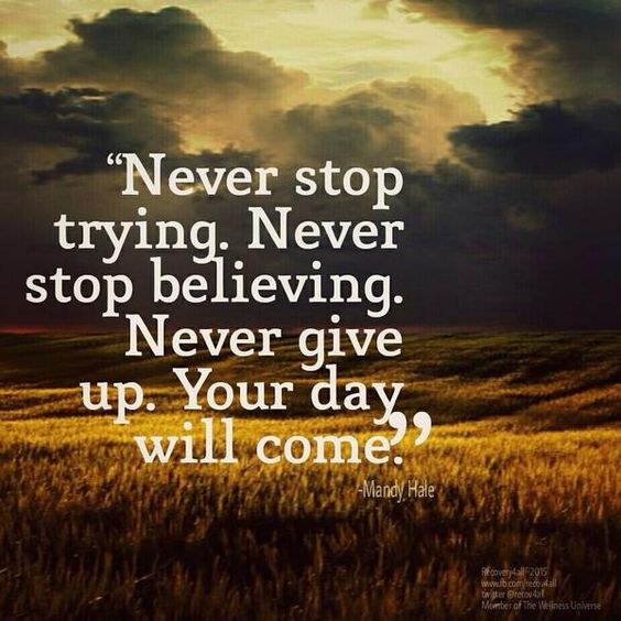 Don't give up, Giving up and Never give up on Pinterest