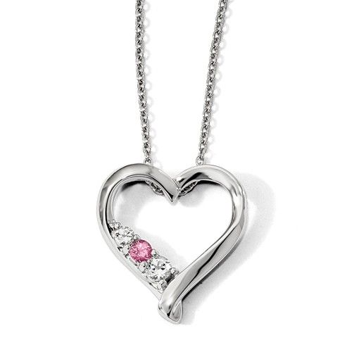 Sterling Silver Swarovski Clear And Pink Topaz Jessica Heart Necklace Pink Topaz Pink Swarovski Topaz