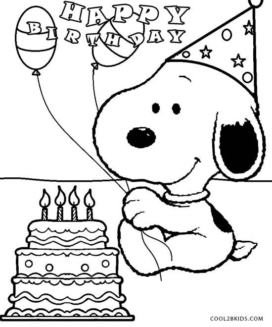 Snoopy Birthday Coloring Pages Party Pinterest