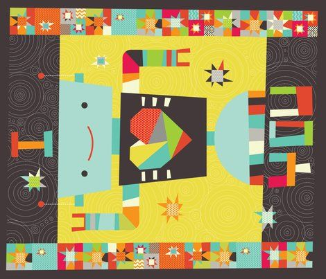 A robot in love cheater quilt fabric by cynthiafrenette for Robot quilt fabric
