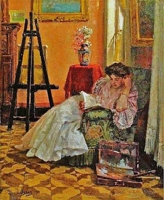 """""""Young Woman Reading in the Studio"""" - David Oyens (1842-1902)"""