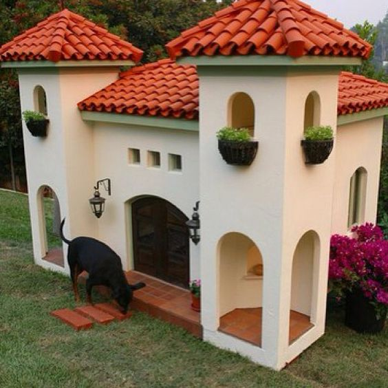 Spanish Style Dog House — Teehe... Yes, this is a dog house.   |   Photo by bahcerama via Instagram