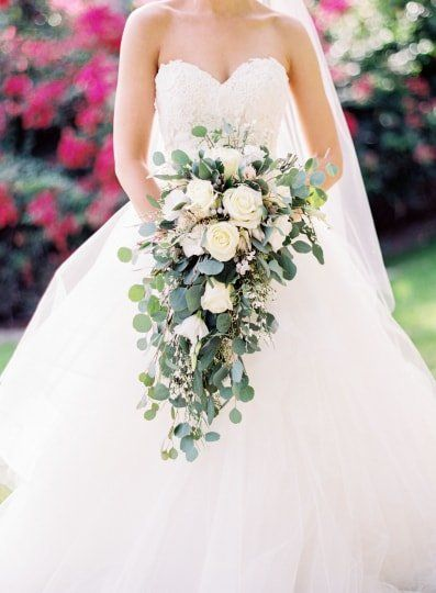 Cascading Wedding Bouquet Idea White And Light Blue Flowers And Greenery Vision Events Cascading Wedding Bouquets Wedding Bouquets Bride Bride Bouquets
