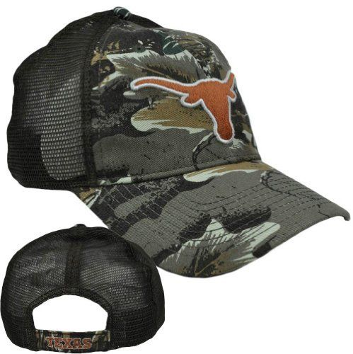 NCAA Texas Longhorns Camo Fox Mesh Adjustable Curved Bill Hat Cap Semi Construct by Fan Favorite. $19.99. Official Licensed Product. Brand New Item with Tags. Adjustable. Velcro. 57% Polyester 43% Cotton. 3D High definition team logo embroidered on front panel. Camouflage cap. School name embroidered on closure. Semi Constructed fit. Adjustable velcro closure. Authentic Fan Favorite Merchandise. Official Collegiate Licensed Product.