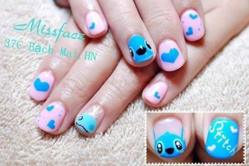 Stitch Nail Art Disney Disneynailart Disneynails Nailart Disney Acrylic Nails Kids Nail Designs Disney Nails