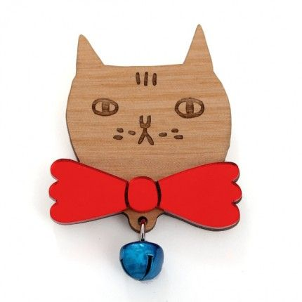 Cat with Bell Brooch