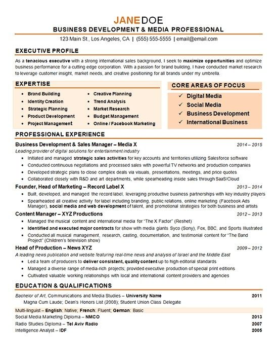 Business Development Manager Resume Examples Marketing In 2020