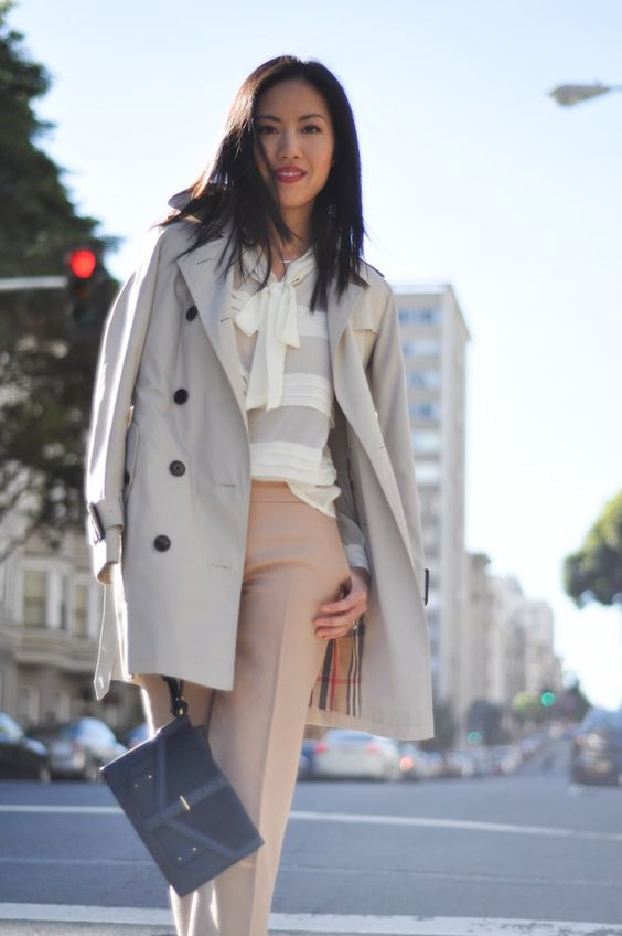 : Chic Outfits, Colors Trench, Bow Blouse, Trench Bow, Work Style, Work Outfits, Spring Outfit, Burberry Trench Coat