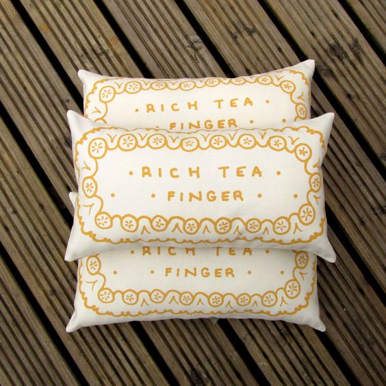 Hand Printed Rich Tea Finger Biscuit Cushion, by Nikki McWilliams: www.nikkimcwilliams.com