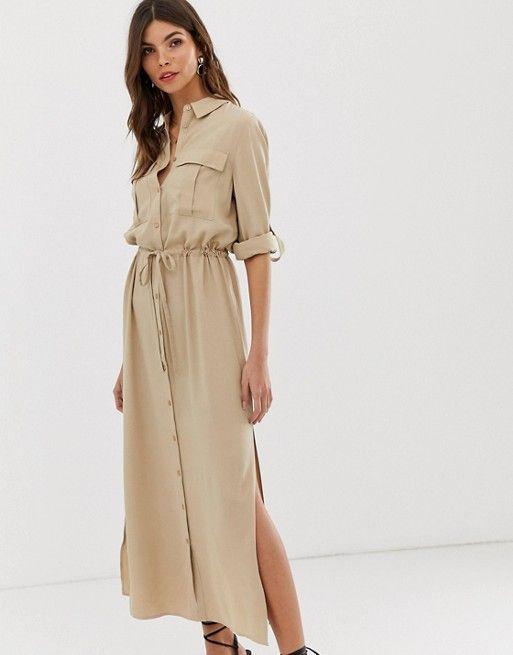 Кремовое платье-рубашка миди в стиле милитари Vila | ASOS