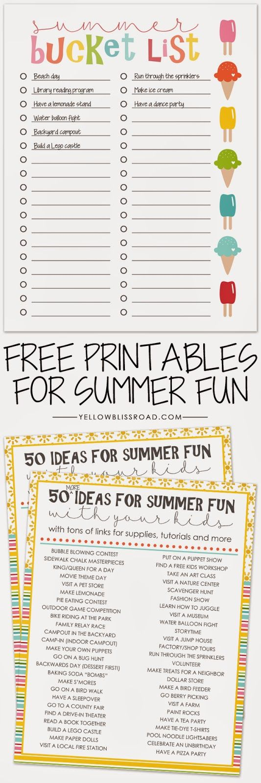 50 Fun Summer Activities You Can Print Out Free Checklist Printable With Lots Of To Do Your Kids