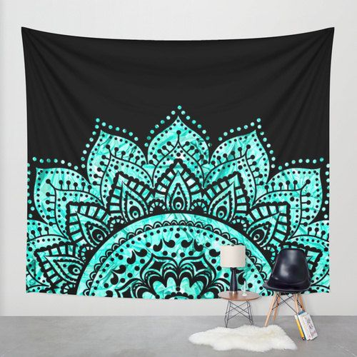 Blue teal mandala wall tapestry by haroulitasdesign for Space themed tapestry