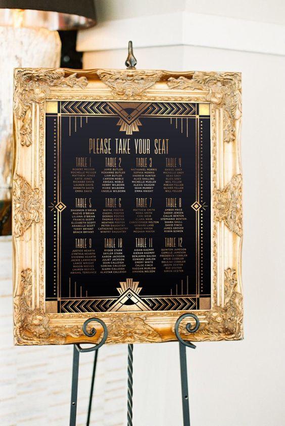 Glam Gatsby Inspired Wedding in Perth Boda, Años y 15 años - printable seating charts