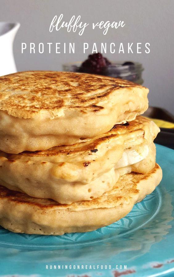 4-Ingredient Fluffy Vegan Protein Pancakes