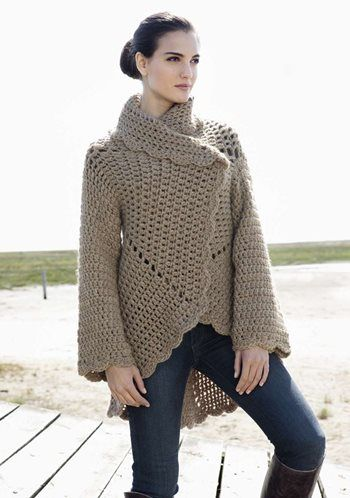Crochet jacket. The page is in German but the pdf link includes instructions in English as well.