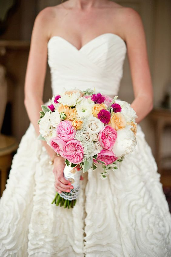 Pretty bouquet. pretty mix of garden and sweetheart roses. Pretty mix of pink shades with a touch of buttery yellow. Just a nice, full bouquet.: Wedding Dresses, Beautiful Dresses, Gorgeous Dress, Dream Wedding