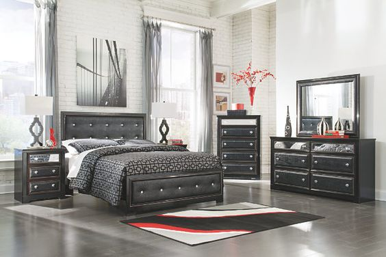 Black Alamadyre Queen Upholstered Panel Bed View 4