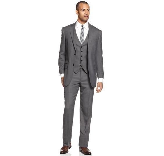 Perry Ellis Suit Comfort Stretch Grey Sharkskin Vested