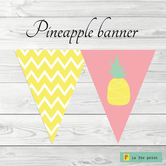 printable pineapple and yellow chevron banner pink by pisforprint