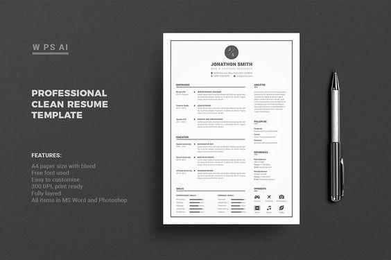 Professional Resume \/ CV Template @creativework247 Resume - cv it professional