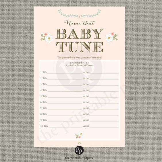 baby tune baby shower game blush floral typography baby songs
