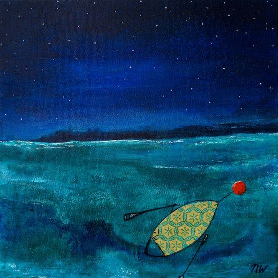 """Midnight Dreams at Rebecca Spit, 12 x12"""" original painting by Nicole Warrington $200"""