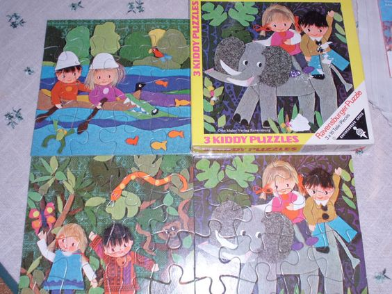 3 Kiddy Puzzles Ravensburger  70er? 3x 16 Teile