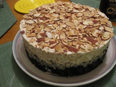 This is way closer to what I'm looking for:  McT's:  The Gourmet Project: Coffee Almond Ice Cream Cake with Dark Chocolate Sauce (Page 868)