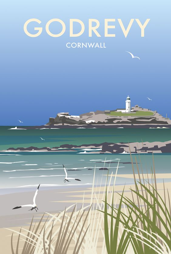 Godrevy (DT94) Coastal Art Print by Dave Thompson http://www.thewhistlefish.com/product/dt94f-godrevy-framed-white-by-dave-thompson #godrevy #cornwall