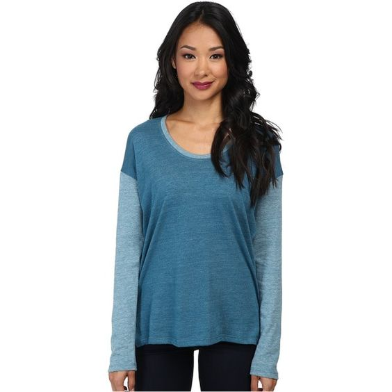 Alternative Eco-Jersey Tunic L/S Top Women's Long Sleeve Pullover,... ($18) ❤ liked on Polyvore featuring tops, blue, scoop neck top, long sleeve jersey shirt, blue top, long sleeve scoop neck top and extra long sleeve shirts
