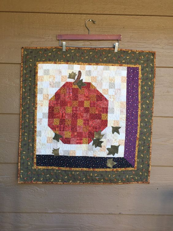Handmade quilt  Pumpkins and Leaves 29 x 29 by GardenOfQuilts