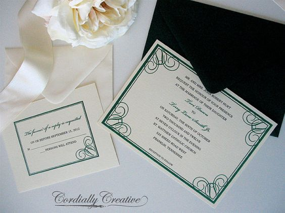 Traditional Wedding Invitation with Swirl Border by cordially, $1.75