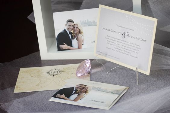 Travel-themed vintage wedding invitation