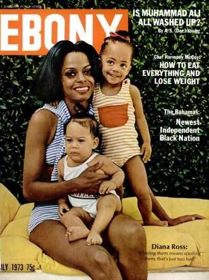 Diana Ross with daughters Rhonda and Tracee on the July 1973 cover of Ebony.