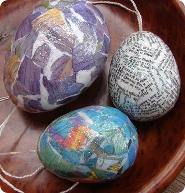 collage easter eggs using recycled book pages