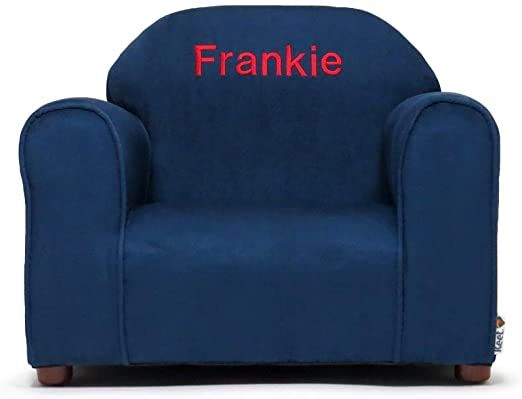 Upholstered Personalized Kids Chair Microfiber Suede Navy In 2020 Personalized Kids Chair Kids Chairs Storage Kids Room
