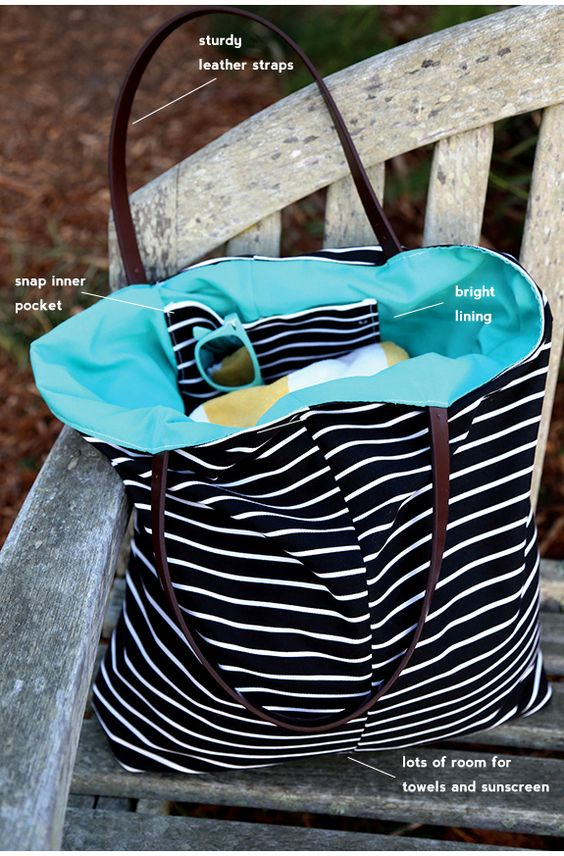 Great summer sewing project: A DIY beach bag with leather straps!