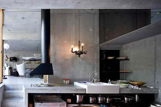 concrete kitchen underground
