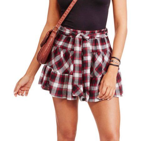 Eye Candy Juniors Ruffled Plaid Skirt with Tie Front - Walmart.com