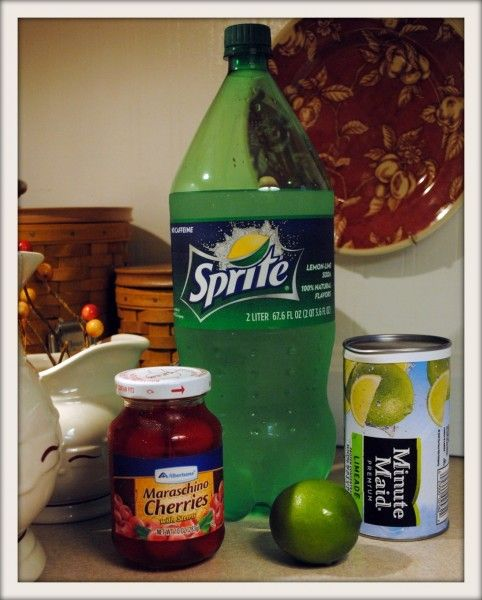 This is supposed to taste just like a sonic cherry limeade. Definitely trying this.  1 can frozen limeade concentrate,  One 2 liter bottle of Sprite,   Juice from 1 10 oz jar cherries   Fresh limes (optional)     Simply put it all together.. tough huh? Add slices of limes to the pitcher, and put cherries in the glasses.