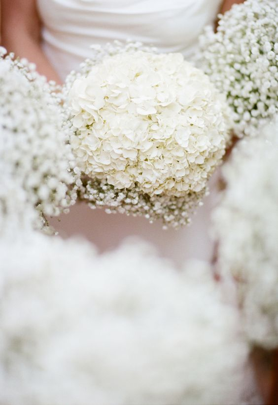 White Hydrangeas for Bride's Bouquet - Baby's Breath Bouquet for Bridesmaids. So Pretty! See more of the wedding on SMP: http://www.StyleMePretty.com/little-black-book-blog/2014/02/25/garden-wedding-at-hans-fahden-vineyards/ Elisabeth Millay Photography:
