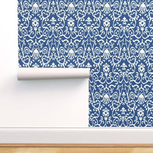 Lucette Ikat In Navy Spoonflower Custom Wall Stickers Self Adhesive Wallpaper Custom Print