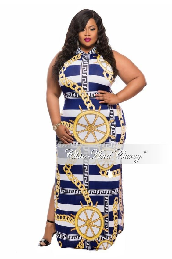New Plus Size BodyCon Dress with Back Cutout and Double Slit inBlue, Yellow, and White Print