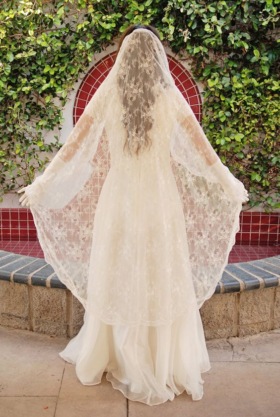 Chantilly Lace Mantilla Wedding Veil  Bridal by UrbanVeilsCouture, $275.00