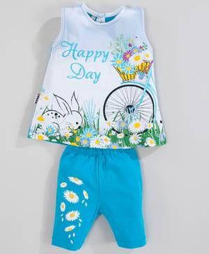 2er Set Top & Leggings 'Happy Day' blau