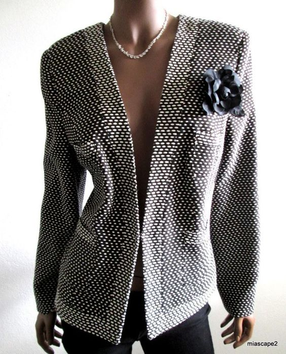EMIL RUTENBERG Blazer Suit Jacket *NWT$345* Black/White Ramie Knit USA M 8 10 12